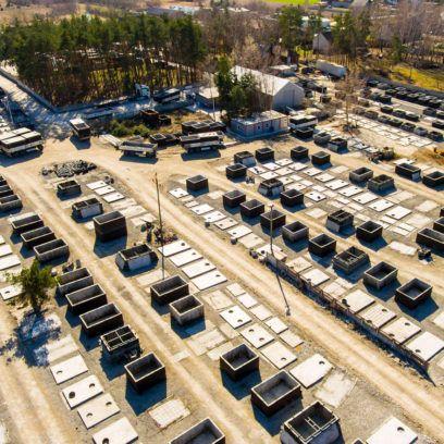 Areál na výrobu a skladovanie betónových nádrží