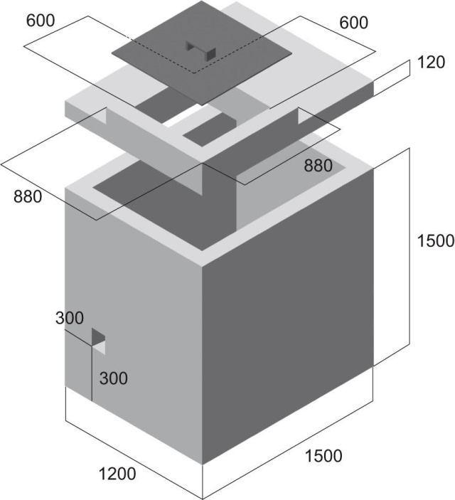 Vodomerná šachta - nákres rozmerov